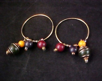 Charming HOOPS and Dangling Beads Earrings for Pierced