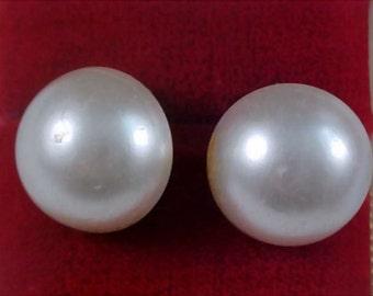 Japan Simulated Button Pearls ~ World War  II Clip Earrings