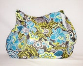 Pleated Hobo Bag in Gray, Turquoise, Yellow, Pale Blue and White Florals-MEDIUM