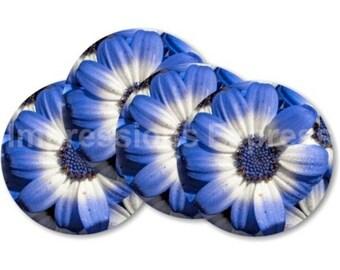 Blue Daisy Flower Coasters - Set of 4