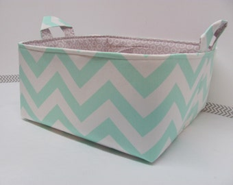 """Diaper Caddy - Fabric Storage Basket - 11""""x11"""" Organizer Bin - Storage box - Diaper Bag - Baby Gift - Nursery Decor - Mint Chevron Zigzag"""