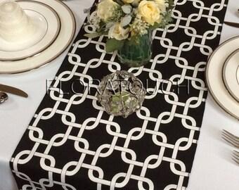 White and Black Gotcha Table Runner Wedding Table Runner