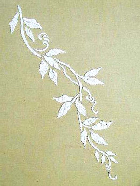 Morning Glory Vine Stencils : Raised plaster vine stencil wall by elegantstencils