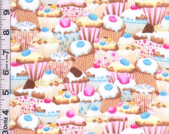 Fabric Timeless Cupcakes packed iced decorated with candy