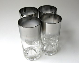 Mid Century vintage Silver Luster Fade High Ball Glasses / Set of 4
