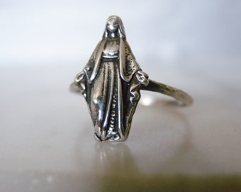 Gift Idea, Size 6.5 Skinny Ring, Virgin Mary Ring Thin Ring, Sterling Silver Ring, Mother Mary Ring, Catholic Jewelry Madonna Ring
