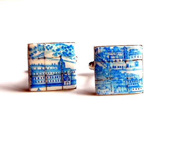 CUFF LINKS Portugal Antique Azulejo Tile Replica Great View of Lisbon 1700 pre-earthquake tsunami  17mm Father's Day Gift box included