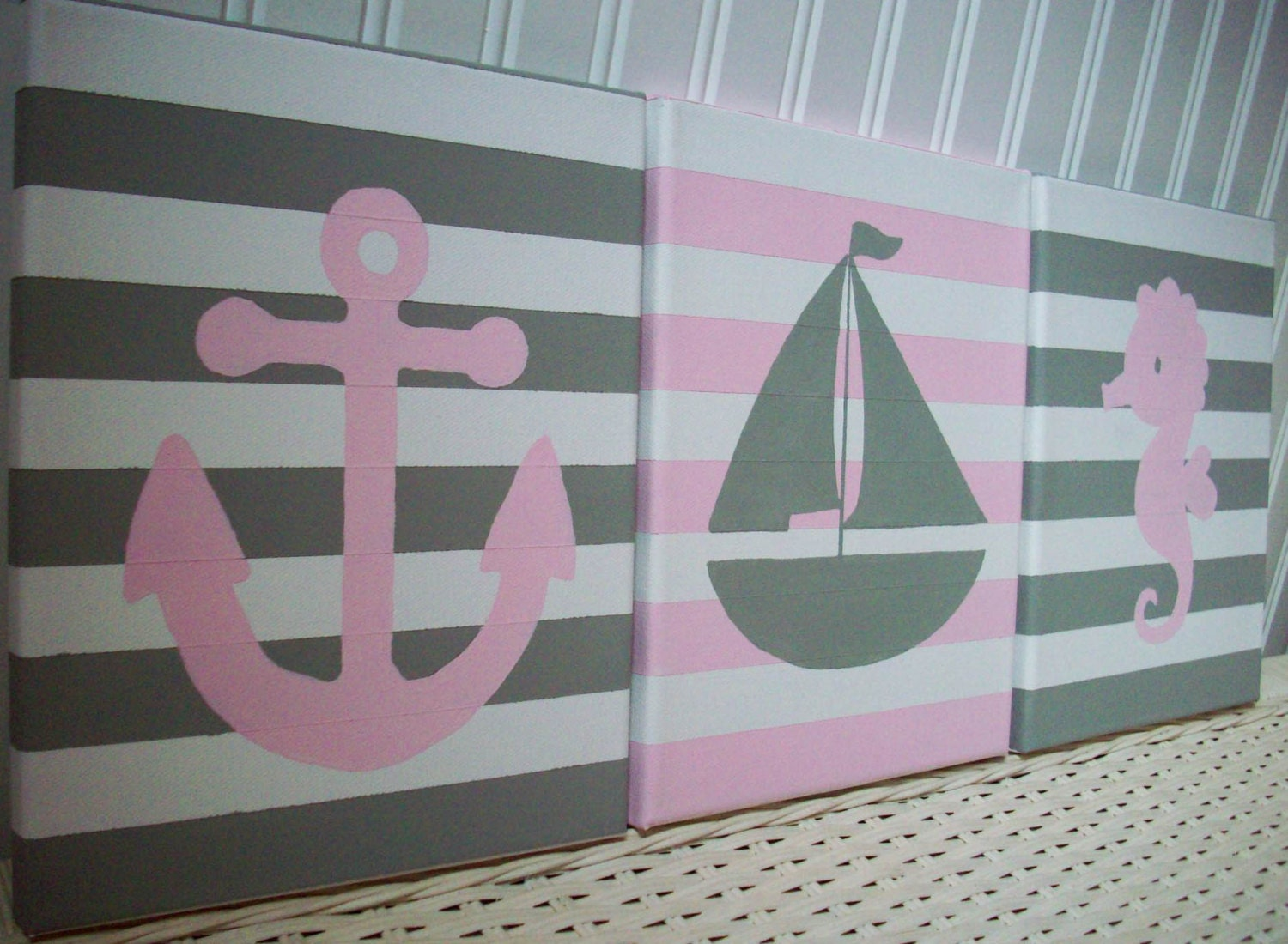 Nautical Kitchen Wall Decor : Girls nautical nursery paintings wall decor by