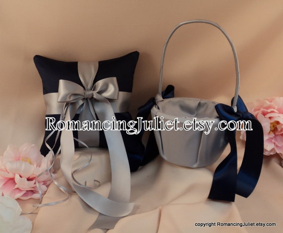 Custom Colors Flower Girl Basket and Romantic Satin Ring Bearer Pillow Set...You Choose The Colors...shown in navy blue/silver gray