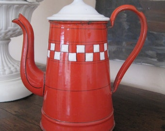 French Enamelware Coffee Pot Red and White Checker Pattern Lustucru