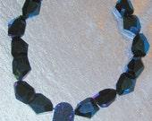 Cobalt blue titanium coated quartz nuggets w druzy pendant