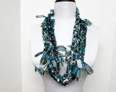 GladRagz Circle of Chains Necklace Scarf in Teal, White, Black, Gray Chiffon Ready to Ship Circle Infinity Shredded Knotted Women's Girl's