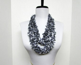 Circle of Chains Necklace Scarf in Black, White, Gray - Ready To Ship Women's Crochet Infinity Circle Lace Scarf