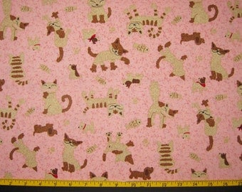 Cats Dogs Fish Design Fabric Yardage Destash 1 yard Pink