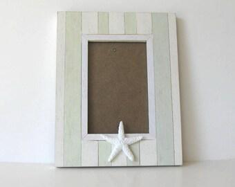 "Starfish Photo Frame, Whitewashed Beach Cottage Decor, 7"" x 7"", Home and Living, Wedding"