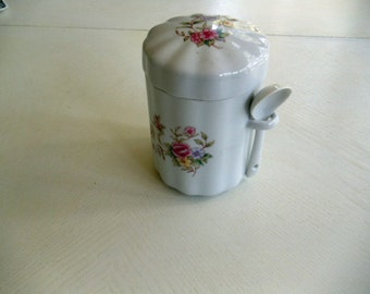 White Fluted, Floral Tea Canister