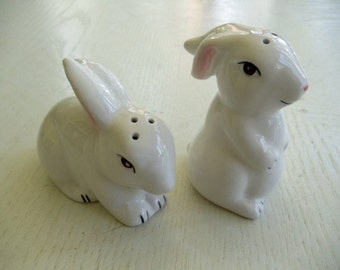 White Bunny Rabbit Salt and Pepper Shakers