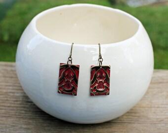 Vintaj Earrings, Rectangular Earrings, Patina Jewelry, Brass Earrings, Embossed Metal Jewelry, Hand Painted Jewelry, Unique Earrings