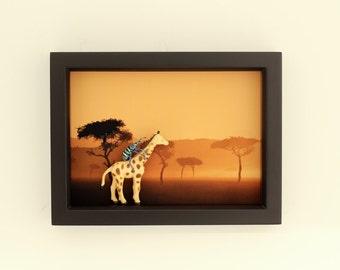 African Safari Real Framed Beetle Miniature Diorama Taxidermy Display