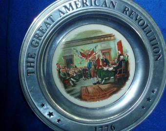 Vintage 1975 Great American Revolution Pewter/Porcelain Collector Plate-Declaration Of Independence   (Item 249)