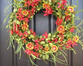Spring Wreath - Front Door Wreath - Red Daisies - Summer Gardens - Daisy Wreaths - Wreaths - Handmade Wreaths