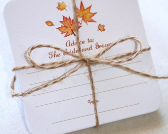 Coasters with advice to the bride and groom. Hand Drawn Watercolor of Fall Maple Leaves.