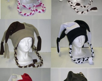 Fleece Jester Hat with ties Pick your own solid colors NEW