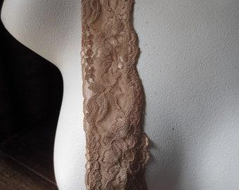 Stretch lace in COFFEE for Headbands, Garters, Lingerie  STR 1104cof