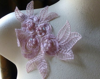 Pink Beaded Lace Flower Applique in Organza for Lyrical Dance, Garments, Costumes CA 615pink