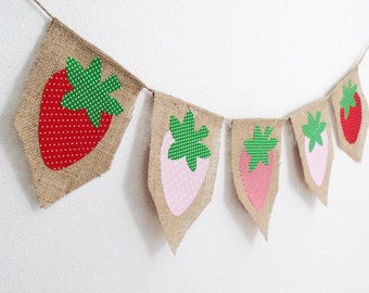 Shabby Summer Strawberry  Bunting Banner by thespeckleddog on Etsy - tt team, avidteam