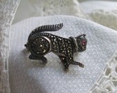 Marcasite Sterling Brooch/Cat Pin with Ruby Eye Vintage 1920's