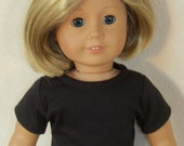 American Made 18 Inch Doll Short Sleeved Black Tee Shirt