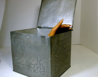 Heavy Metal Tin Industrial Box, 1970s, Flowered Etched or Embossed Design, Hinged Lid, BiG, Industrial, On SALE
