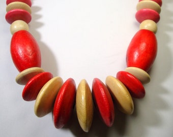 SALE, Long Red and Natural Blonde Wood Bead Necklace, Late 1970s, Early 1980s