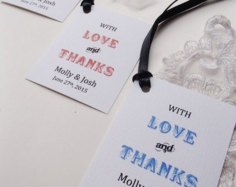 With Love and Thanks Tag for Favor at Wedding, Birthday-Personalized with names and date