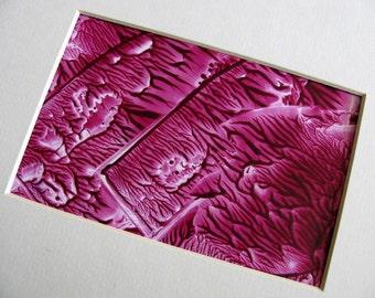 4X6 Abstract Encaustic (Wax) Original Painting / Violet Rose, Magenta / Post Card Size Art / Desk Art / SFA (Small Format Art)