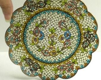 Exquisite Vintage Plique A Jour Dish Plate - Scalloped Edge Enamel Plate