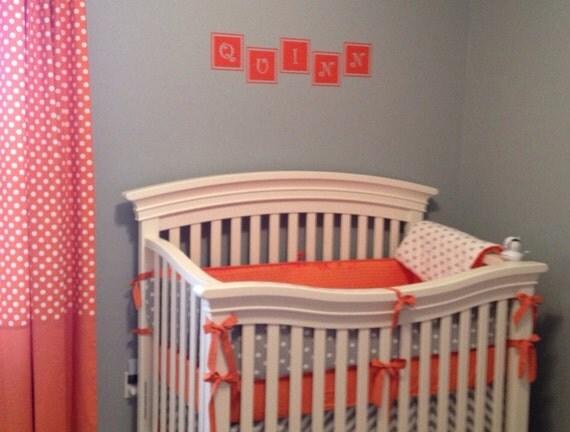 Baby Bedding Crib Set Gray White Orange