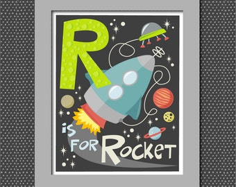 R is for Rocket Retro Alphabet Printable Digital File for nursery or child's bedroom