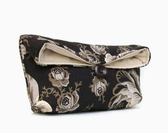 Black Clutch, Black Floral Clutch, Gray Beige, Bridesmaid Gift, Bridesmaid Clutch Purse, Under 25, Makeup Bag