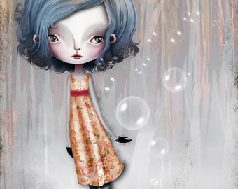 "Fine Art Print ""Girl 34"" 8.5x11 or 8x10  Premium Giclee Print - Little Girl with Bubbles - blue gold red dress - sweet girl"