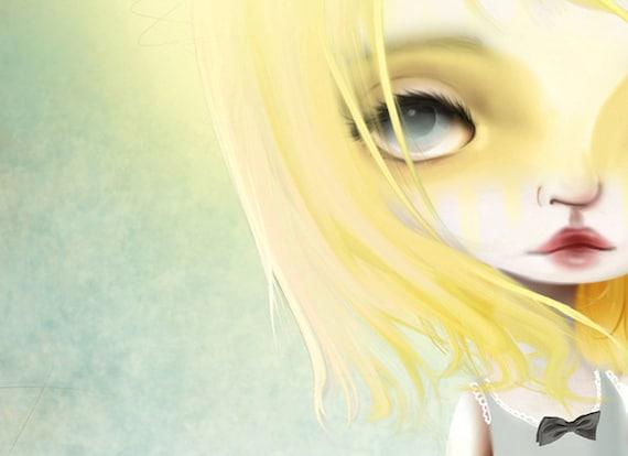 "5x7 Fine Art Print - ""Golden Days"" - Giclee Print of a Light Sunny Haired Girl - Artwork by Jessica Grundy"