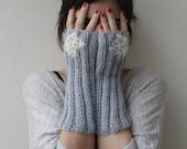 Light grey mohair fingerless gloves  beaded lace - black friday etsy - Cyber Monday Etsy - Fall fashion bridal gloves