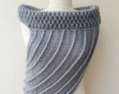 Hunger games Katniss inspired crochet cross body vest cowl wrap shawl in grey  fall fashion valentines day
