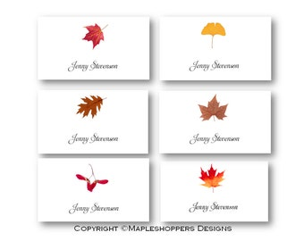 Assorted Fall Leaves Place Cards   16 Cards   Flat Syle   DIY You Edit MS  Editable Leaf Template