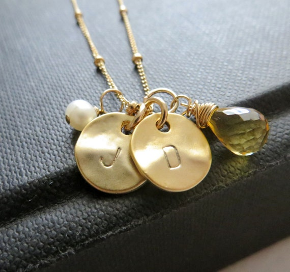 Custom initial necklace, personalized initial necklace, gold or silver, hand stamped letter charms on a satellite chain