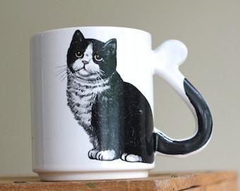 Cat Mug Coffee Cup Tea Milk Tabby Kitty Tail Handle made in Japan Cameron