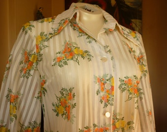 70s Floral Blouse Sheer Stripe Wide Butterfly Collar Puffy Sleeves M