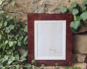 8x10 inch Burr Walnut Veneer Deluxe Photo Frame/Office Desktop/Mens Gift/Standard Frame 8x10 inches
