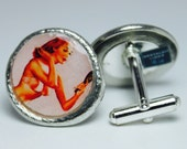 Pinup Girls Pewter Cufflinks